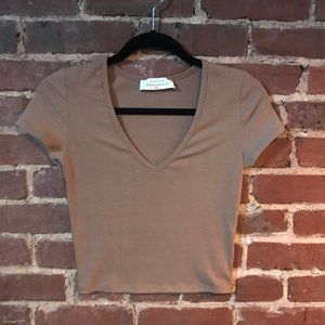 American Threads Brown V Neck Crop Top